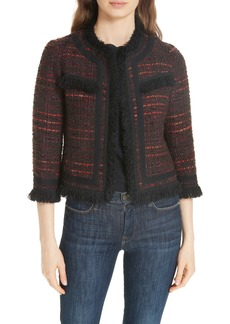 kate spade new york multi tweed fringe jacket