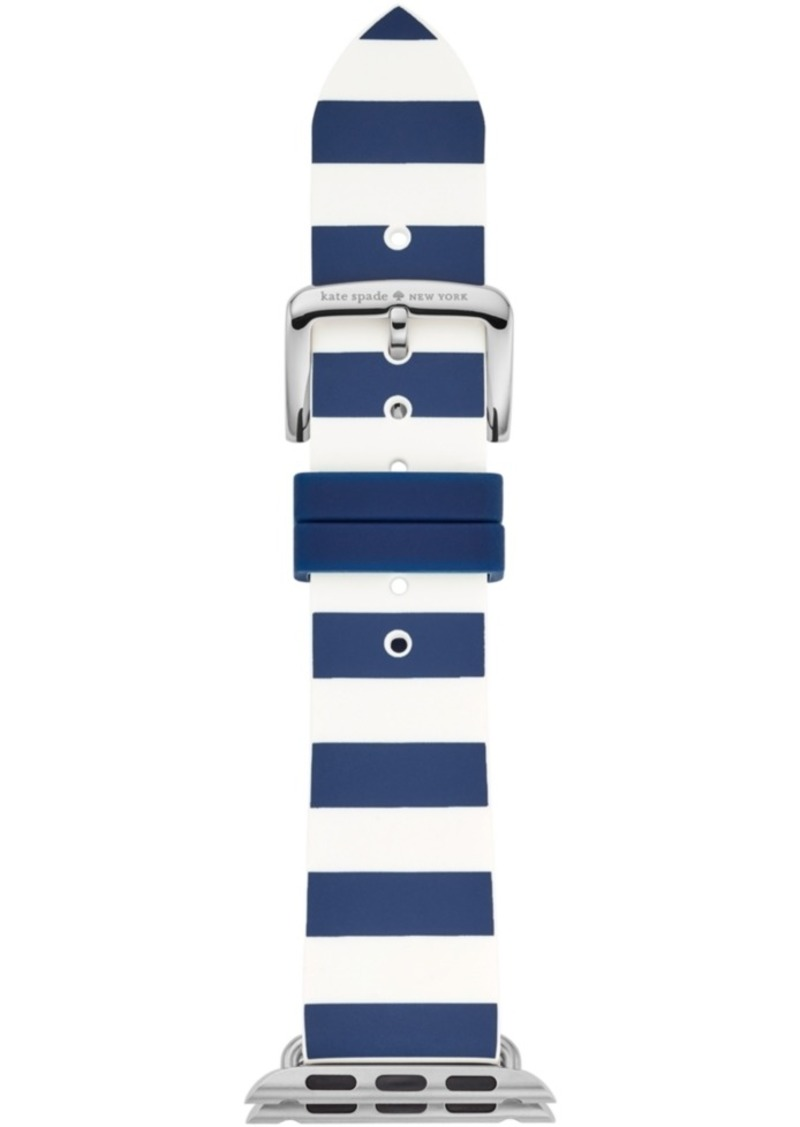 kate spade new york Women's Navy & White Striped Silicone Apple Watch Strap