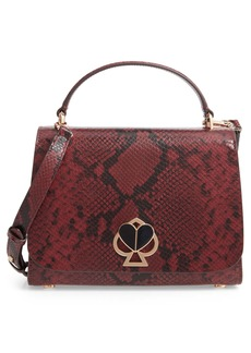 kate spade new york nicola snakeskin embossed leather top handle satchel