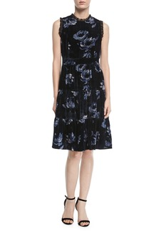 kate spade new york night rose ruffle-trim velvet dress