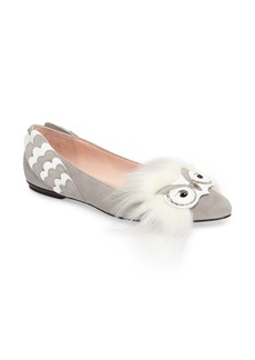 kate spade new york nora faux fur trim flat (Women)