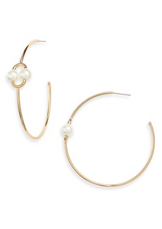 kate spade new york nouveau pearls imitation pearl hoop earrings