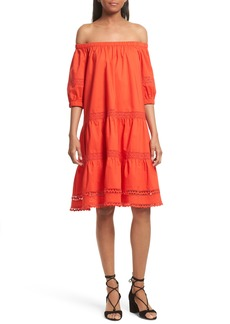 kate spade new york off the shoulder poplin dress