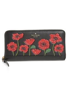 kate spade new york ooh la la - lacey poppy embossed leather wallet