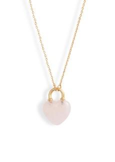 kate spade new york open heart stone lock mini pendant necklace