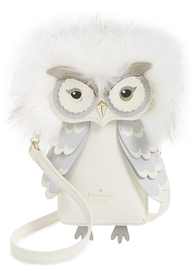 kate spade new york owl faux fur & leather smartphone crossbody bag