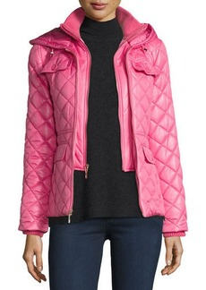 kate spade new york packable quilted short coat w/ bow detail