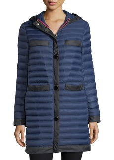 kate spade new york packable soft-down quilted puffer coat in travel bag