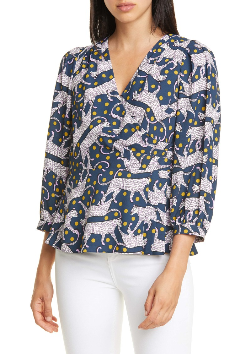 kate spade new york panther dot surplice top