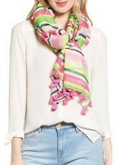 kate spade new york park stripe cotton & silk scarf