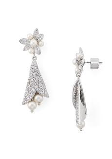 kate spade new york Pav� & Simulated Pearl Drop Earrings