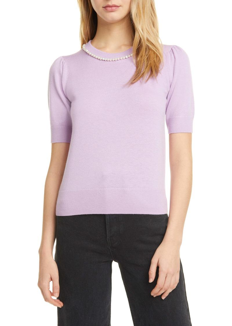 kate spade new york pearl & pavé collar short sleeve sweater