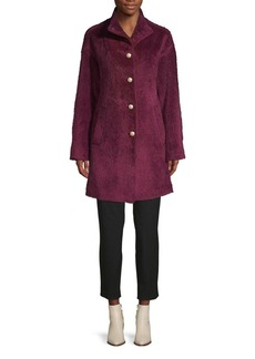 Kate Spade New York Pearl Button-Front Faux Fur Coat