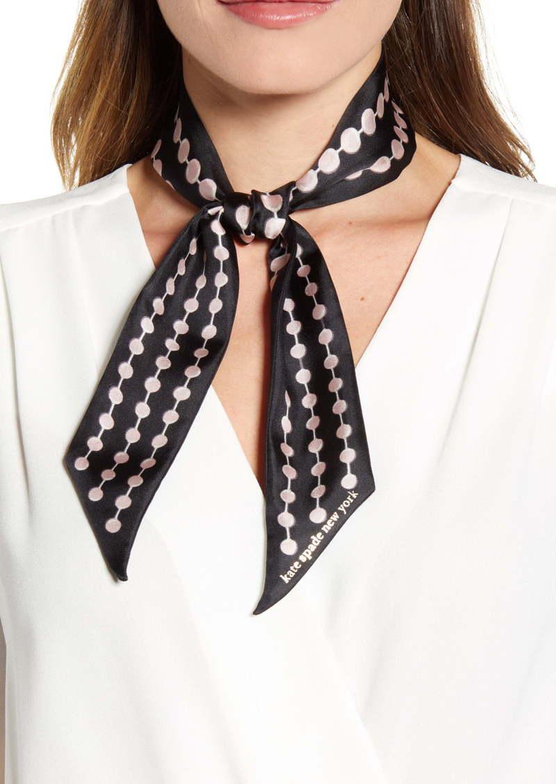 kate spade new york pearl drops print skinny silk scarf