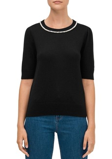 kate spade new york Pearl-Trimmed Sweater