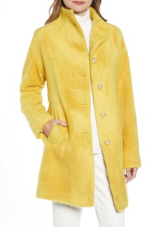 kate spade new york pearly button fuzzy coat