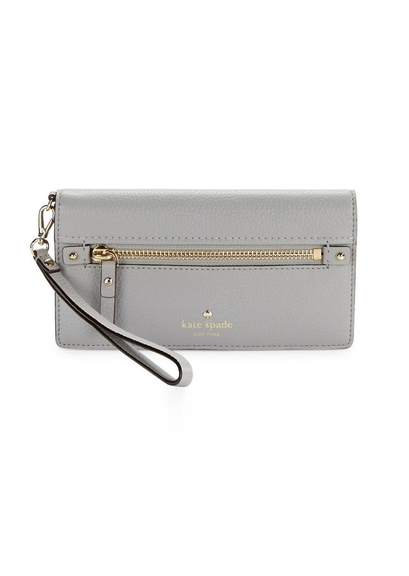 KATE SPADE NEW YORK Pebble Textured Leather Wristlet