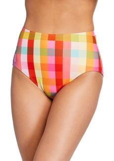 kate spade new york plaid high-waist bikini swim bottom