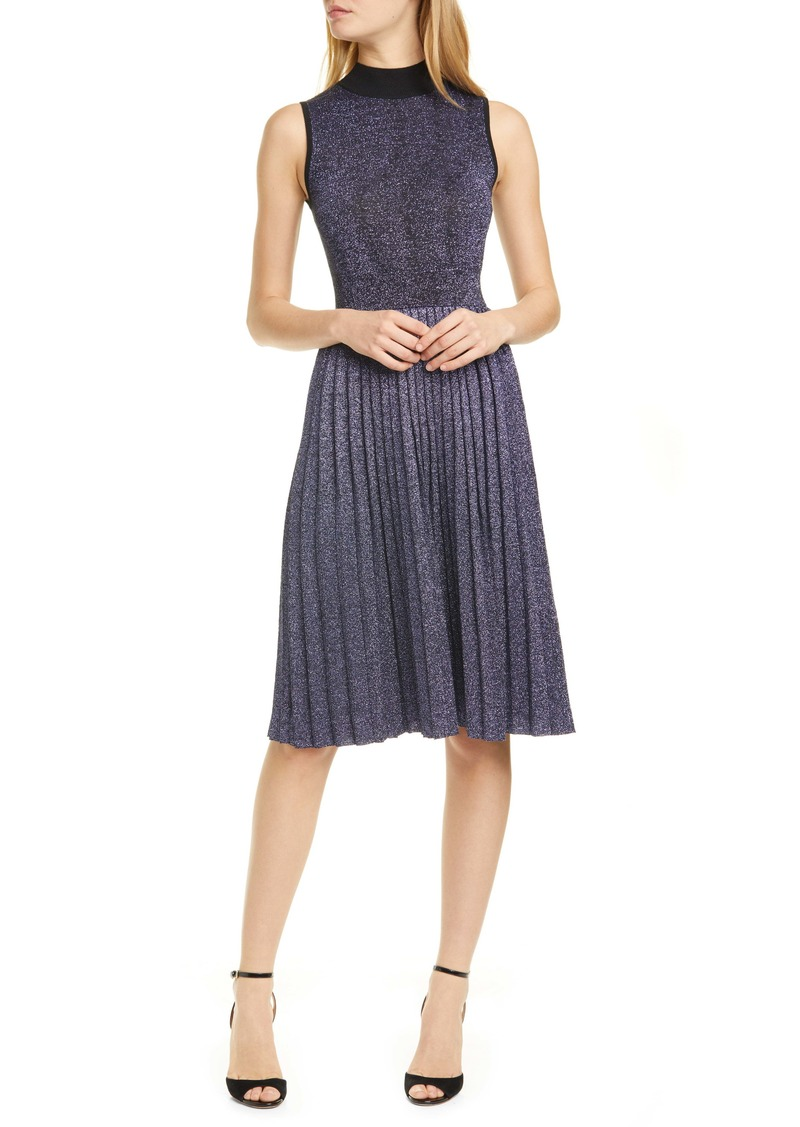 kate spade new york pleated metallic sweater dress