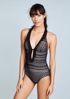 Kate Spade New York Point Loma Ruffle Halter Plunge One Piece