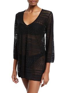 kate spade new york point loma v-neck crochet lace coverup tunic
