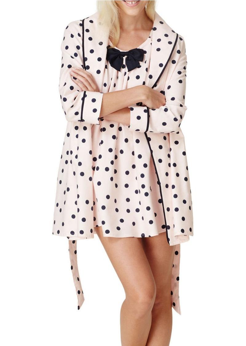 KATE SPADE NEW YORK Polka Dot Flannel Short Robe