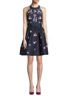 Kate Spade pom embroidered floral halter dress