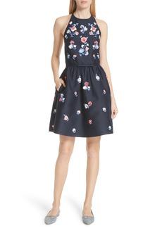 kate spade new york pom pom embrroidered fit & flare dress