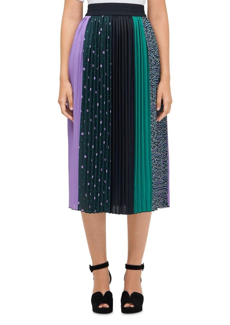 kate spade new york Pop Dots Pleated Mixed-Print Midi Skirt