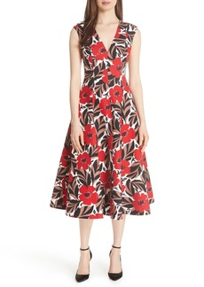kate spade new york poppy field structured midi dress