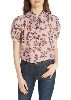 kate spade new york prairie rose tie neck silk blouse