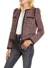 kate spade new york puff sleeve tweed jacket