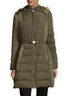 Kate Spade New York Puffer Jacket with Detachable Faux Fur Hood