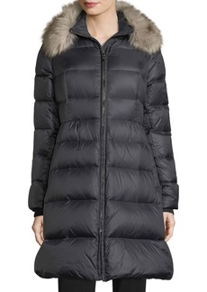 kate spade new york quilted puffer down skirted coat w/ faux-fur collar