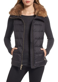 kate spade new york quilted puffer down vest with faux fur trim