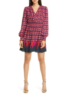 kate spade new york rawr print long sleeve smocked dress