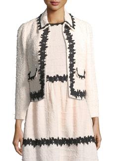 kate spade new york reagan tweed tailored jacket w/ border trim