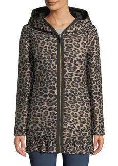 kate spade new york reversible leopard-print parka jacket