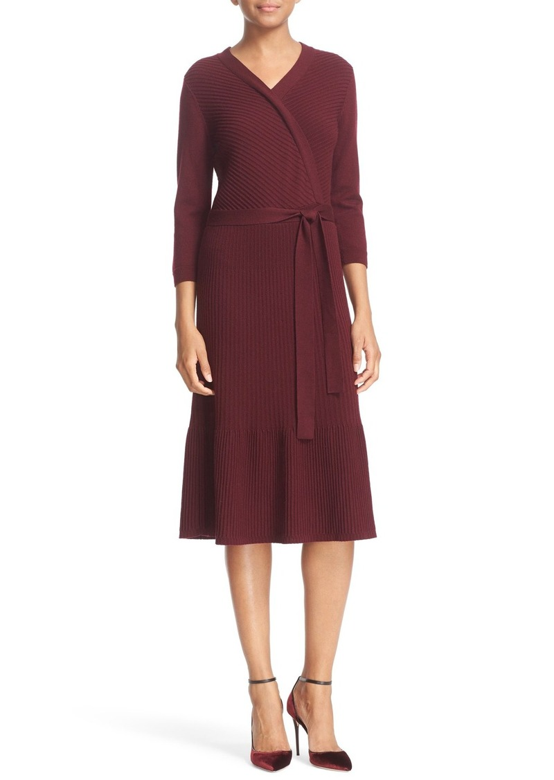 kate spade new york rib knit wool faux wrap dress