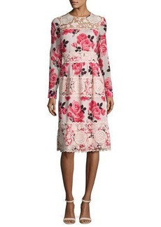 kate spade new york rosa long-sleeve floral lace-trim dress