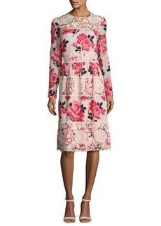 kate spade new york rosa long-sleeve floral lace-trim dress