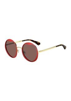 kate spade new york rosarias round heart metal sunglasses