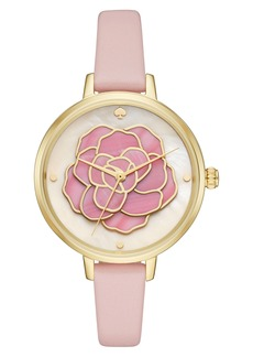 kate spade new york 'rose' leather strap watch, 34mm