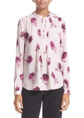 kate spade new york rose print pleated silk blouse