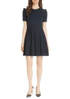 kate spade new york ruffle cotton cashmere sweater dress
