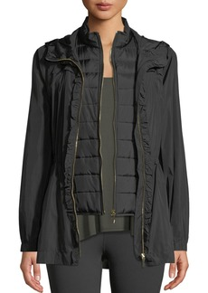 kate spade new york ruffle-placket hooded anorak jacket
