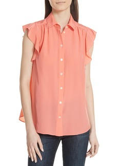 kate spade new york ruffle sleeve silk top