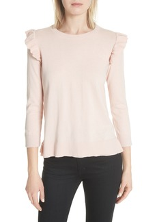 kate spade new york ruffle trim cotton & cashmere sweater