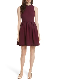kate spade new york ruffle trim fit & flare dress