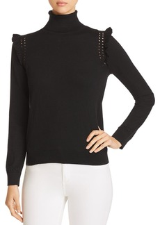 kate spade new york Ruffle-Trimmed Turtleneck Sweater